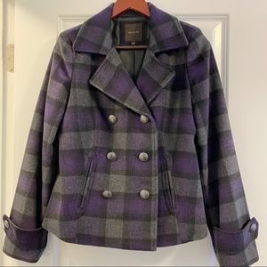 The Limited Purple Plaid Peacoat